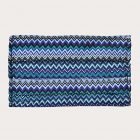Silk protective facemask, geometric wave pattern