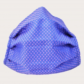 Silk protective facemask, pink and light blue geometric pattern