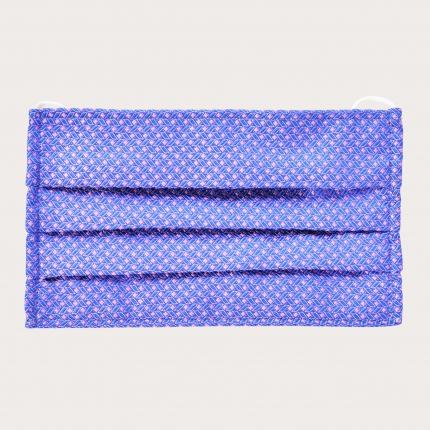 StyleMask Mascherina facciale filtrante in seta, motivo geometrico rosa e azzurro
