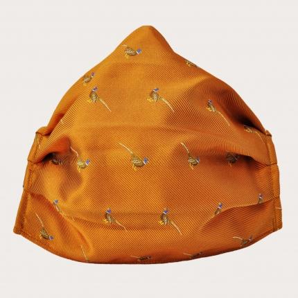 StyleMask Orange Seidenfilter Gesichtsmaske mit Fasanen