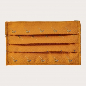 Silk protective facemask, orange with pheasants
