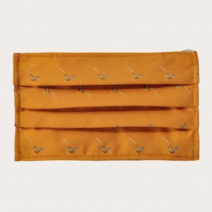 StyleMask Mascherina facciale filtrante in seta arancione con fagiani
