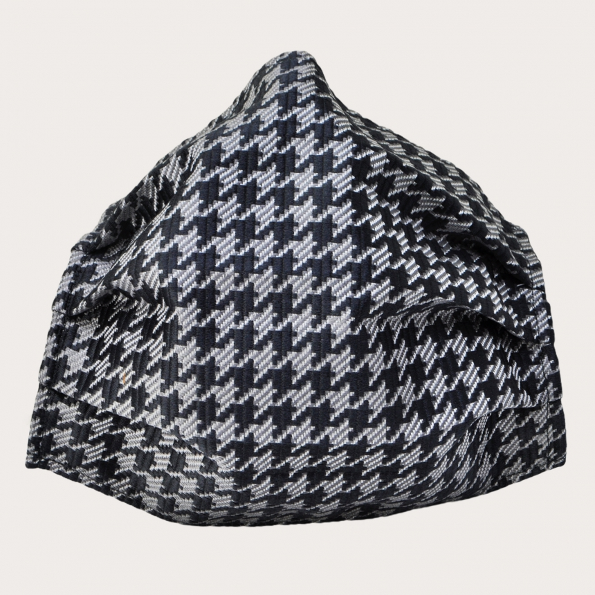 Silk protective facemask, black pied de poule