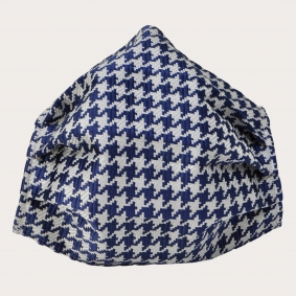 Silk protective facemask, blue pied de poule