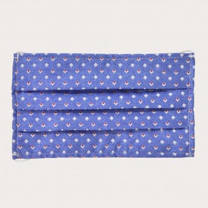 StyleMask Mascherina facciale filtrante in seta, motivo azzurro a quadratini