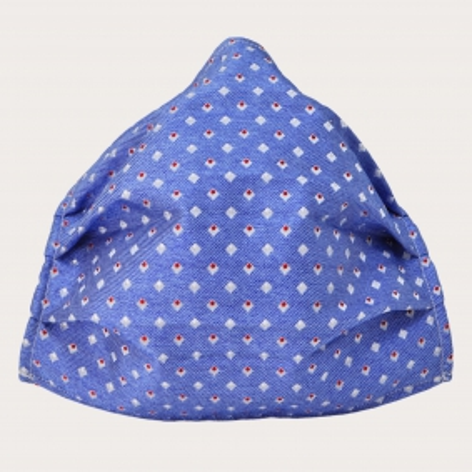 StyleMask Seidenfilter Gesichtsmaske mit hellblaues Motiv mit Quadraten