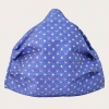 Silk protective facemask, blue pattern with squares