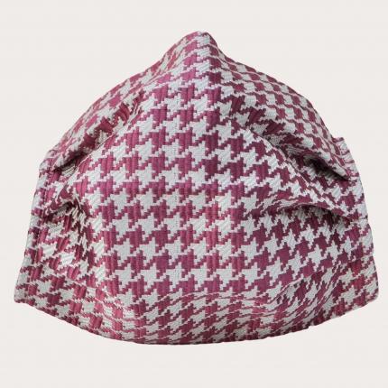 Silk protective facemask, pink pied de poule