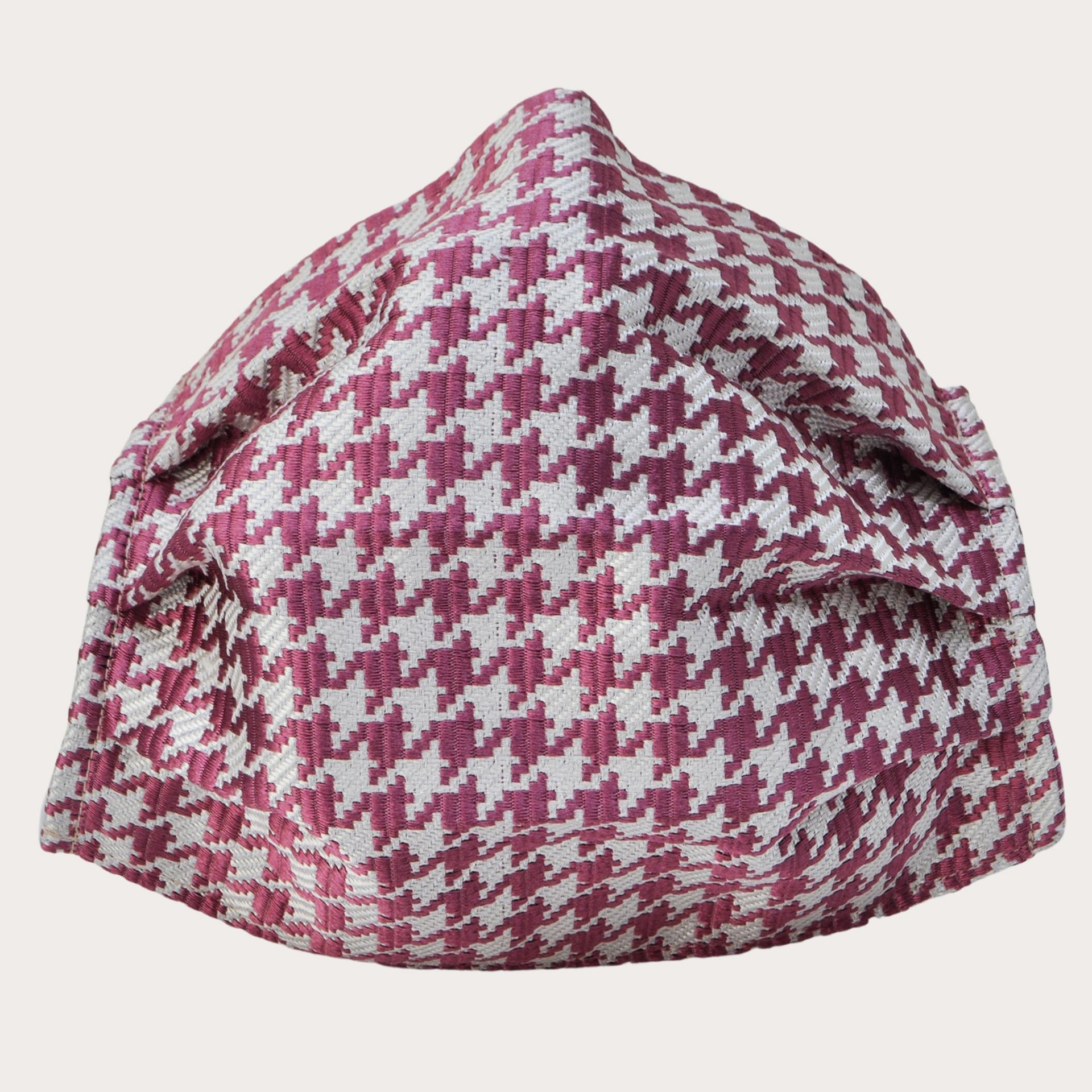 StyleMask Mascherina facciale filtrante in seta, pied de poule rosa