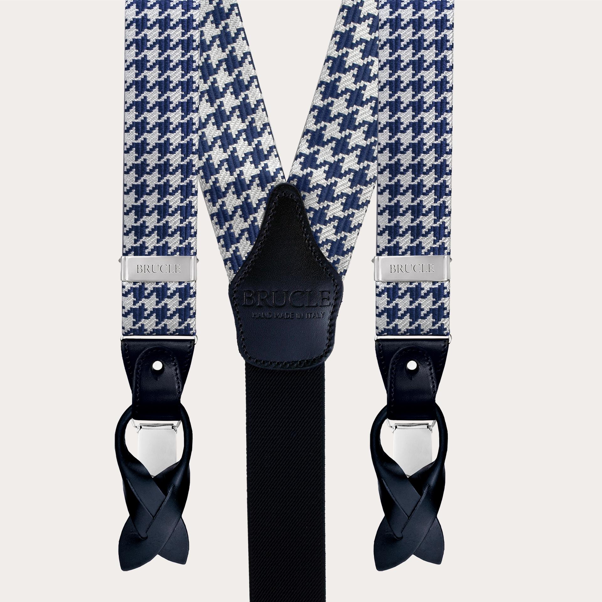 Formal Y-shape fabric suspenders in silk, blue pied de poule