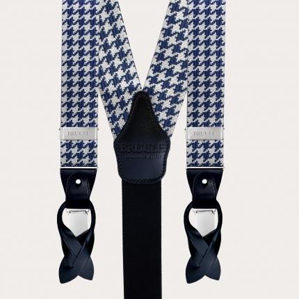Seidenhosenträger und Seidenkrawatte, pied de poule blau