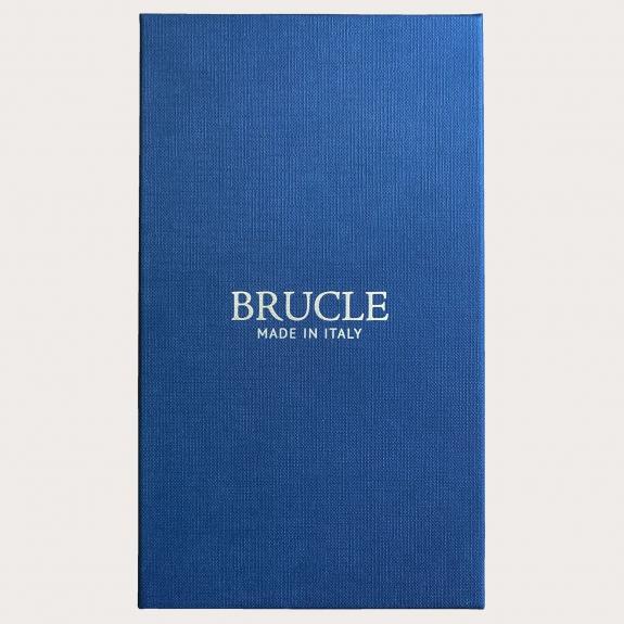 Formal Y-shape fabric suspenders in silk, blue paisley