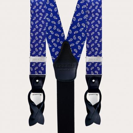 Bretelles larges en soie bleu paisley à clip ou boutonniere