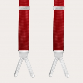 Silk suspenders and silk tie, dotted red