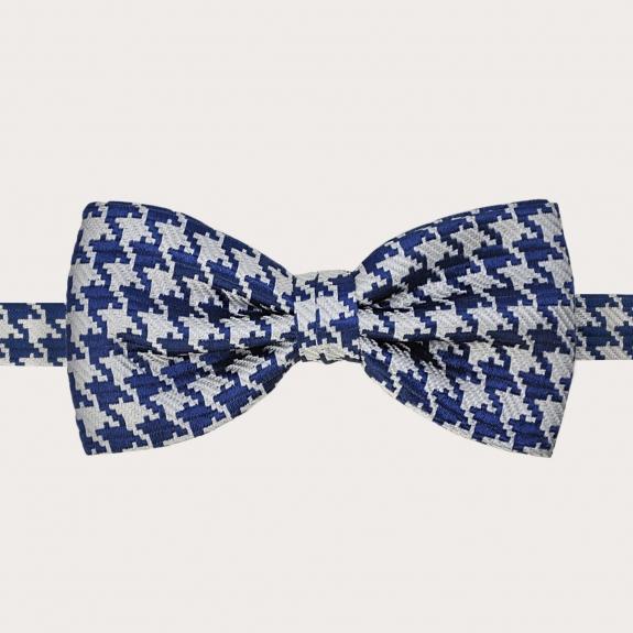 Silk suspenders and silk bowtie, blue pied de poule