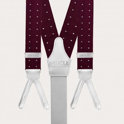 Bretelles et cravate en soie, rouge bordeaux à pois