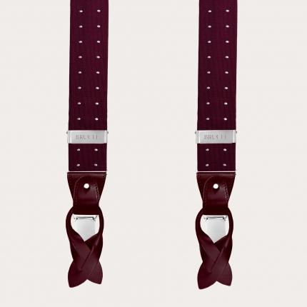 Bretelles et cravate en soie, pied de poule bleu