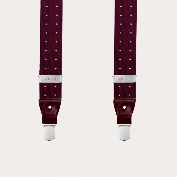 Silk suspenders and silk bowtie, dotted burgundy