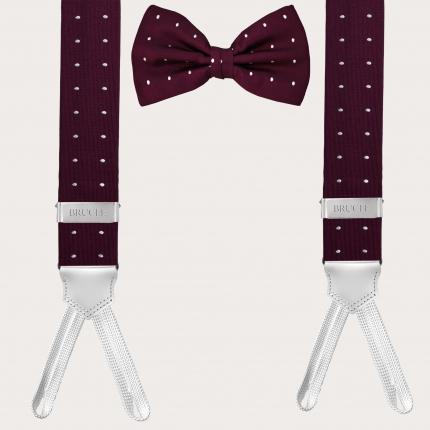 Silk suspenders and silk tie, dotted burgundy