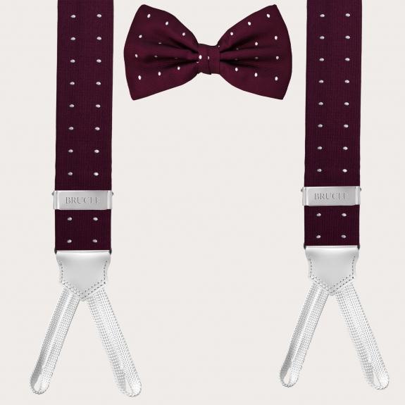 Silk suspenders and silk tie, dot bordeaux