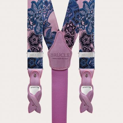 Bretelle in seta fantasia paisley floreale