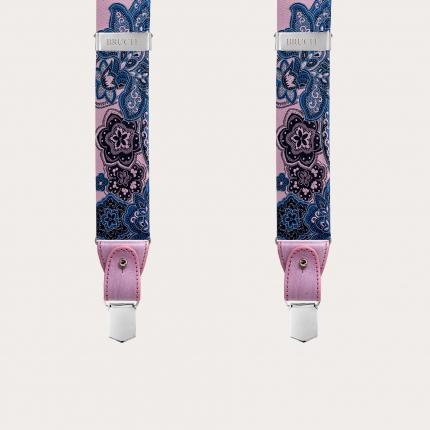 Bretelles larges en soie rose en bleu floral cachemire à clip ou boutonniere