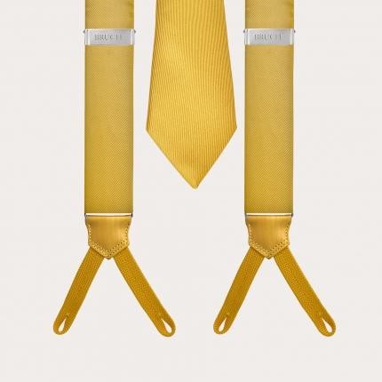 BRUCLE Bretelle asole per bottoni e cravatta in seta, colore giallo