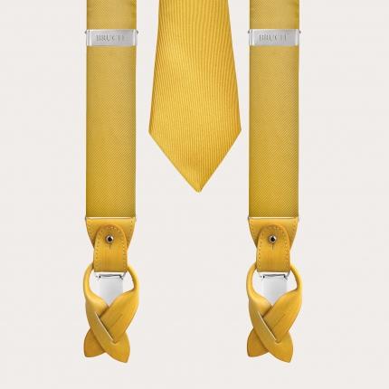 BRUCLE Seidenhosenträger und Seidenkrawatte gelb