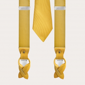 BRUCLE Suspenders braces and tie in silk, yellow color