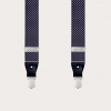 Formal Y-shape fabric suspenders in silk, dotted blue pattern