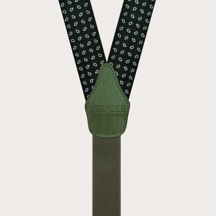 Formal Y-shape fabric suspenders in silk, green paisley