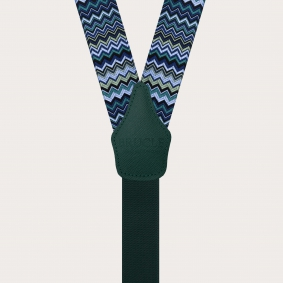 Formal Y-shape fabric suspenders in silk, blue with wave pattern