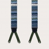 Formal Y-shape suspenders with braid runners, blue with wave pattern