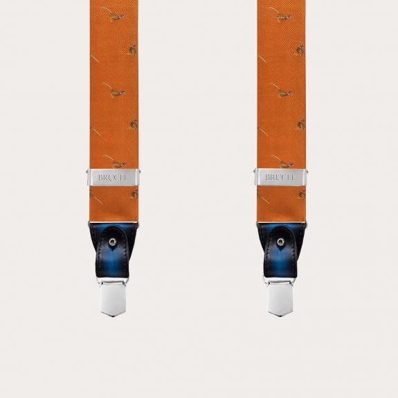 Formal Y-shape fabric suspenders in silk, orange with pheasants