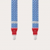 Formal Y-shape fabric suspenders in silk, light blue with squares pattern