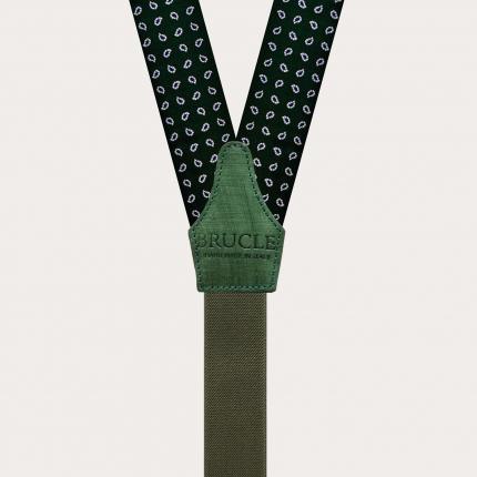 Formal Y-shape suspenders with braid runners, green paisley