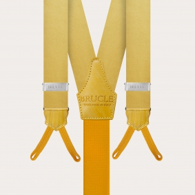 Formal Y-shape suspenders with braid runners, yellow Color-Yellow Size-120cm