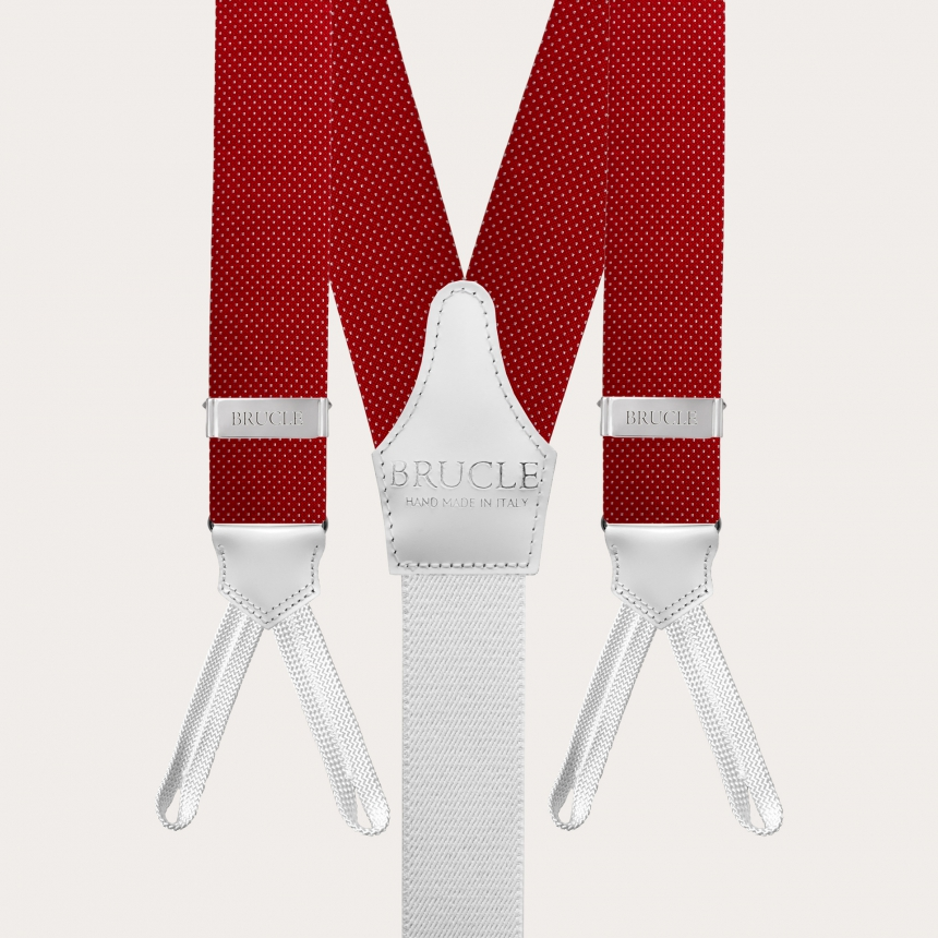 Formal Y-shape suspenders with braid runners, dotted red
