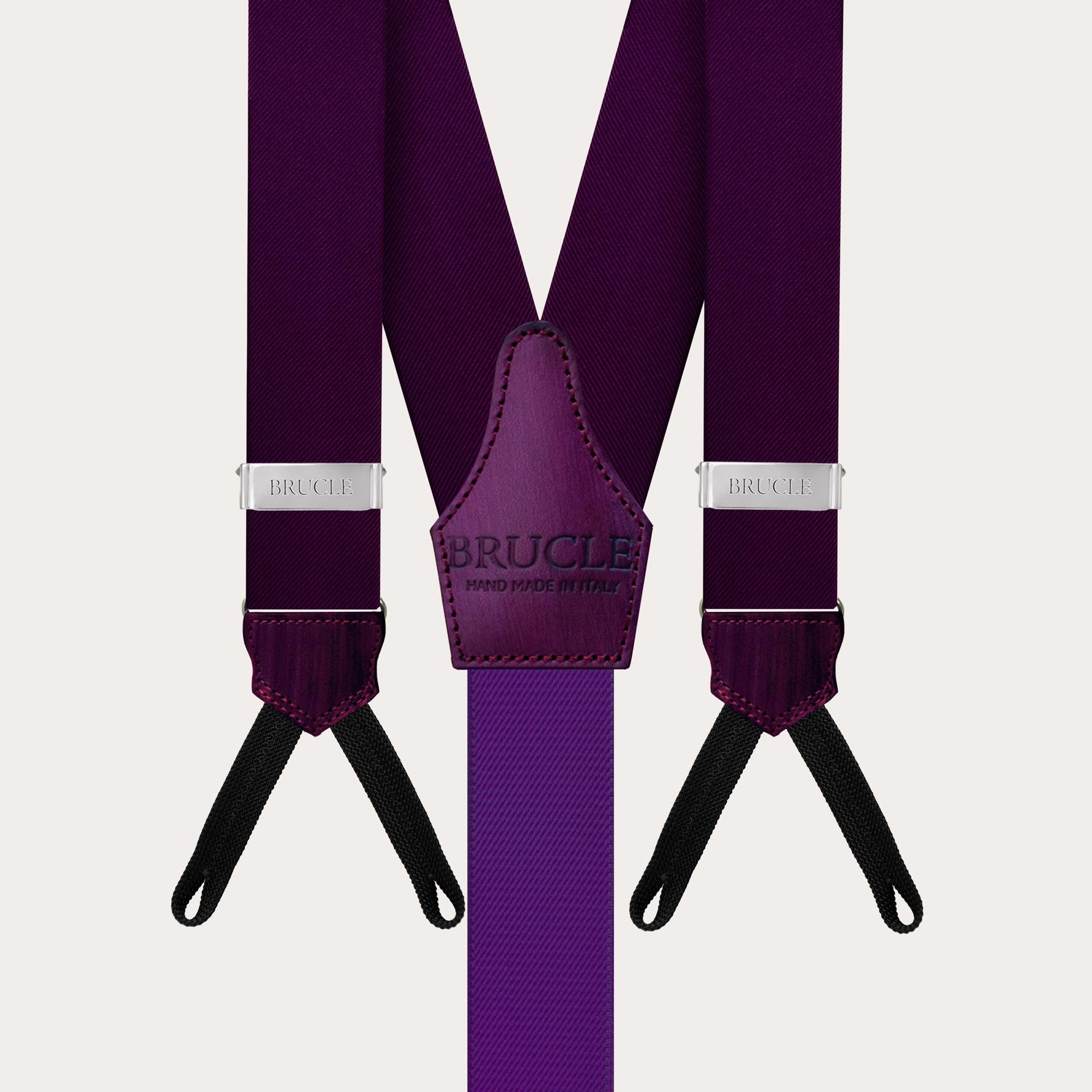 BRUCLE Formal Y-shape suspenders with braid runners, purple