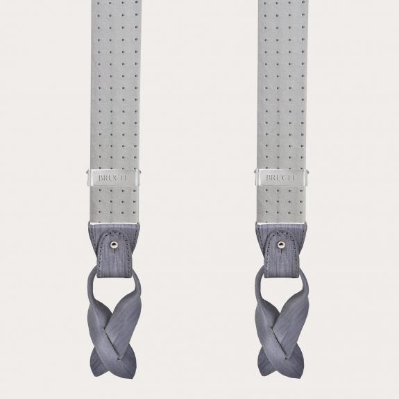 brucle braces suspenders dot grey silk