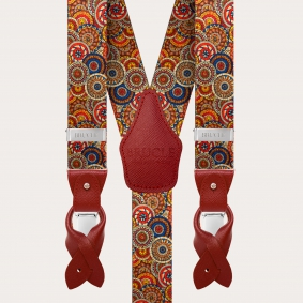 Elastische Hosenträger in Y-Form, geometrisches Muster mit Rädern