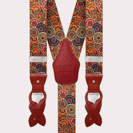 Y-shape elastic suspenders, geometric pattern with wheels