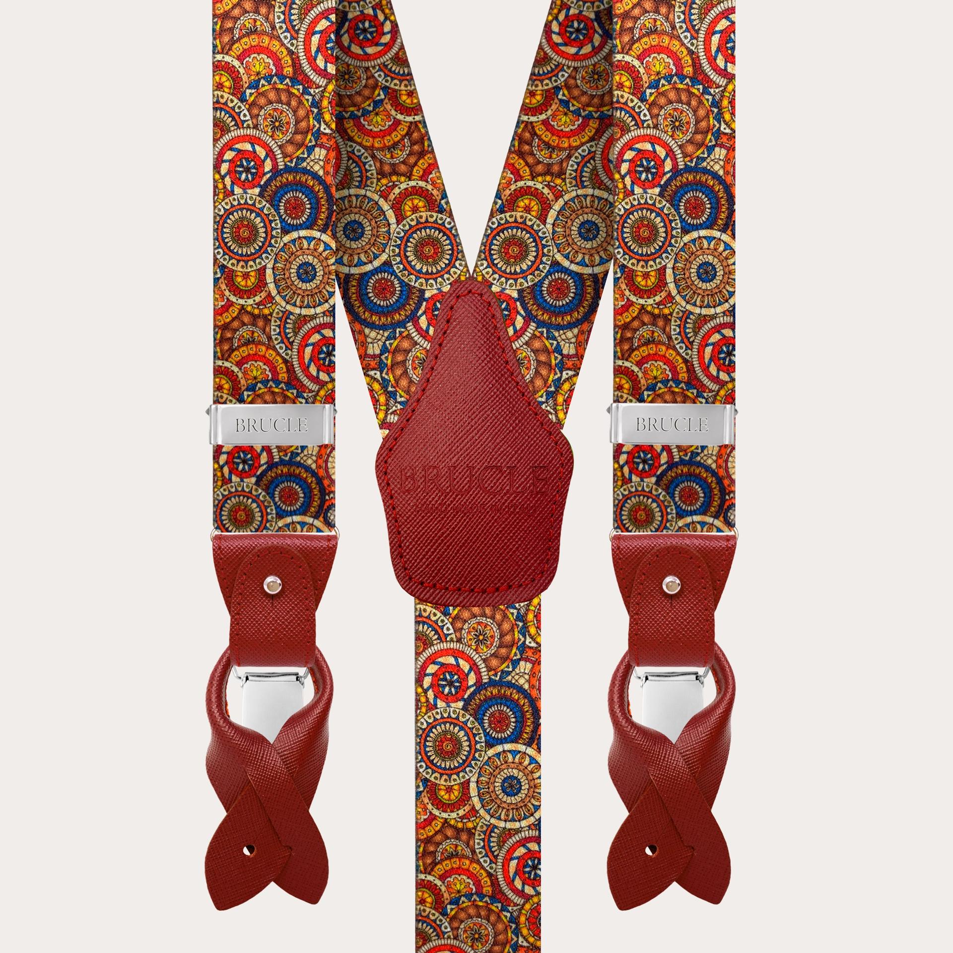 BRUCLE Bretelle elastiche doppio uso, fantasia geometrica ad anelli