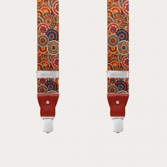 BRUCLE Y-shape elastic suspenders, geometric pattern with wheels