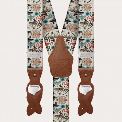 Bretelles élastiques en satin en forme de Y, motif animal exotique