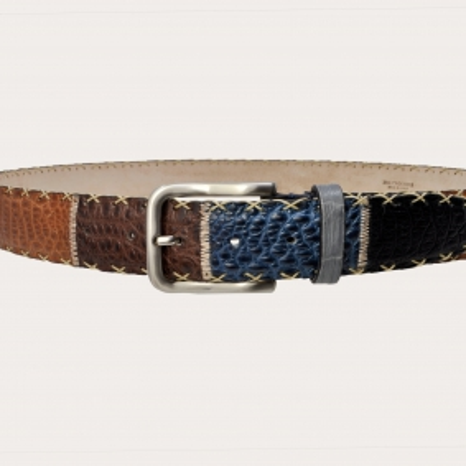 Cintura Patchwork in vero coccodrillo