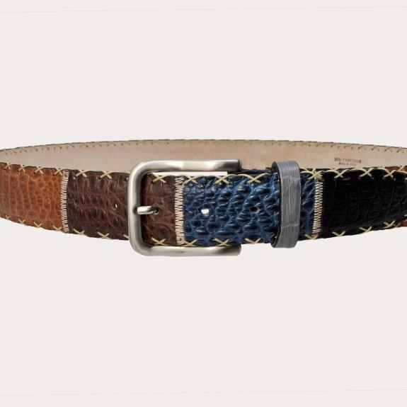 Genuine crocodile leather belt, multicolor patchwork