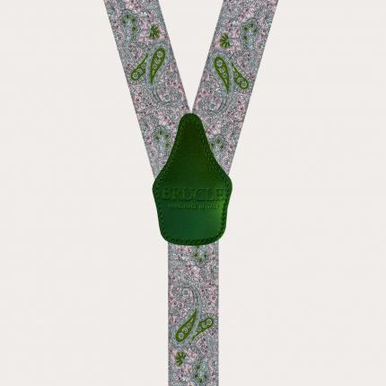 Bretelle elastiche doppio uso, fantasia cachemire rosa e verde