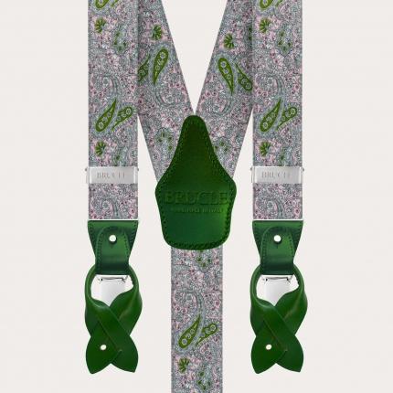 Elastische Hosenträger in Y-Form, rosa und grünes Kaschmirmuster