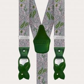 Y-shape elastic suspenders, pink and green cashmere pattern